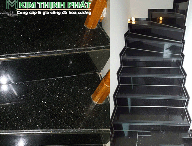 đá đen kim sa trung ốp cầu thang
