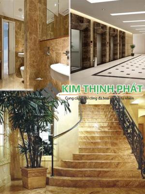 Lắp đặt công trình cầu thang đá nâu Tây Ban Nha tại Kim Thịnh Phát đẹp nhất uy tín chất lượng